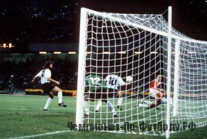 1990 World Cup Finals. Naples, Italy. 13th June, 1990. Argentina 2 v USSR 0. Argentina's Diego Maradona handles the ball inside his own penalty area, not seen by the referee.